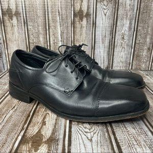 Florsheim black leather dress shoes / oxfords - size 9 wide